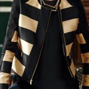 NEW- Black and Gold Faux Leather Jacket